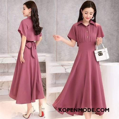 7c8c9638e0bd7f Jurken Dames Korte Mouw Lang Trend Pullover Eenvoudige Zomer Effen Kleur  Rood