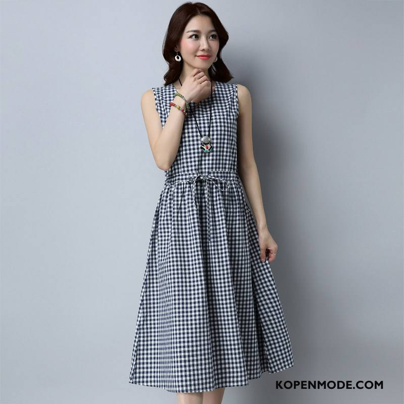 Jurken Dames Mouwloos Casual Pullover 2018 Mode Hoge Taille Wit Zwart