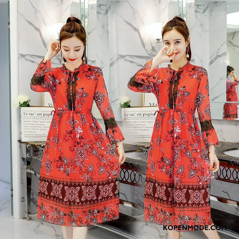Jurken Dames Slim Fit Eenvoudige Lange Mouwen Mode Persoonlijk Elegante Rood Oranje