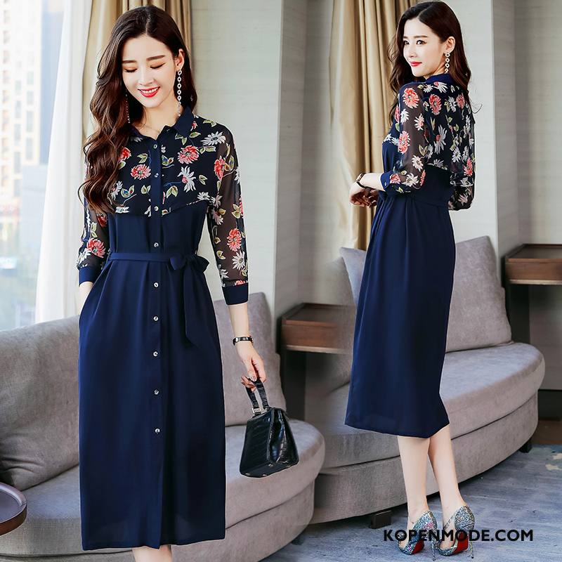 Jurken Dames Trend Bloemen Elegante Comfortabele Zomer 2018 Marineblauw