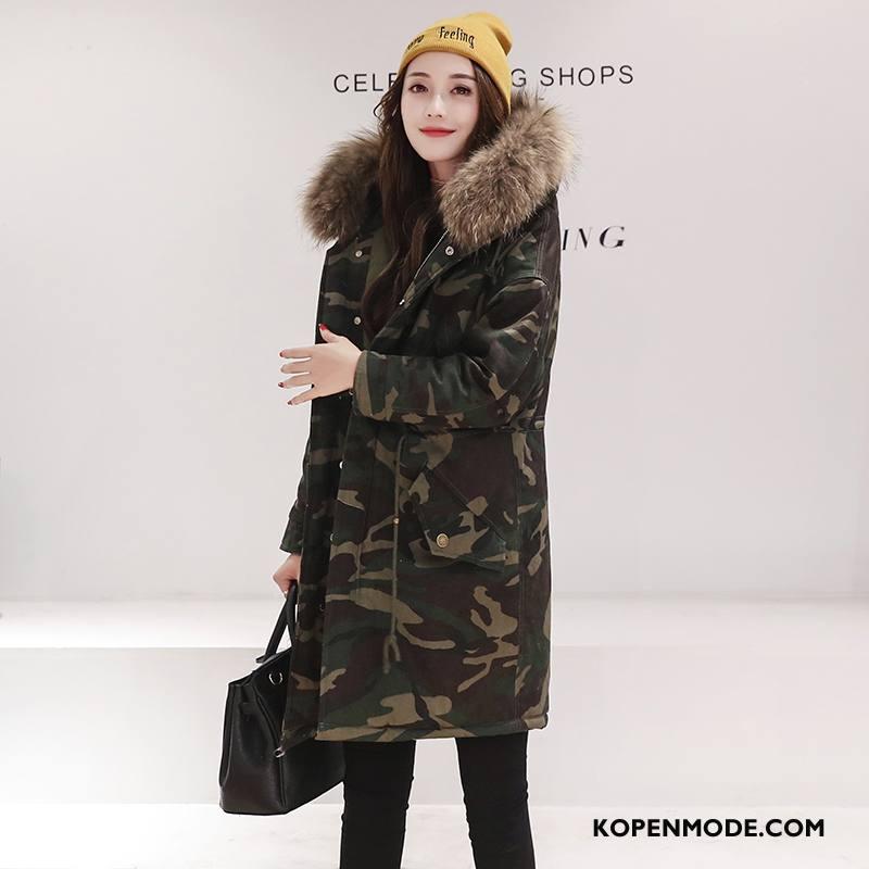 Katoenen Jas Dames Elegante Hoodie Mode Winter Lang Camouflage