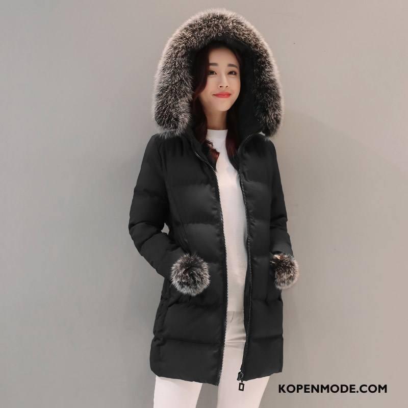 Katoenen Jas Dames Mode Hoodie Winter Losse Effen Kleur Zwart