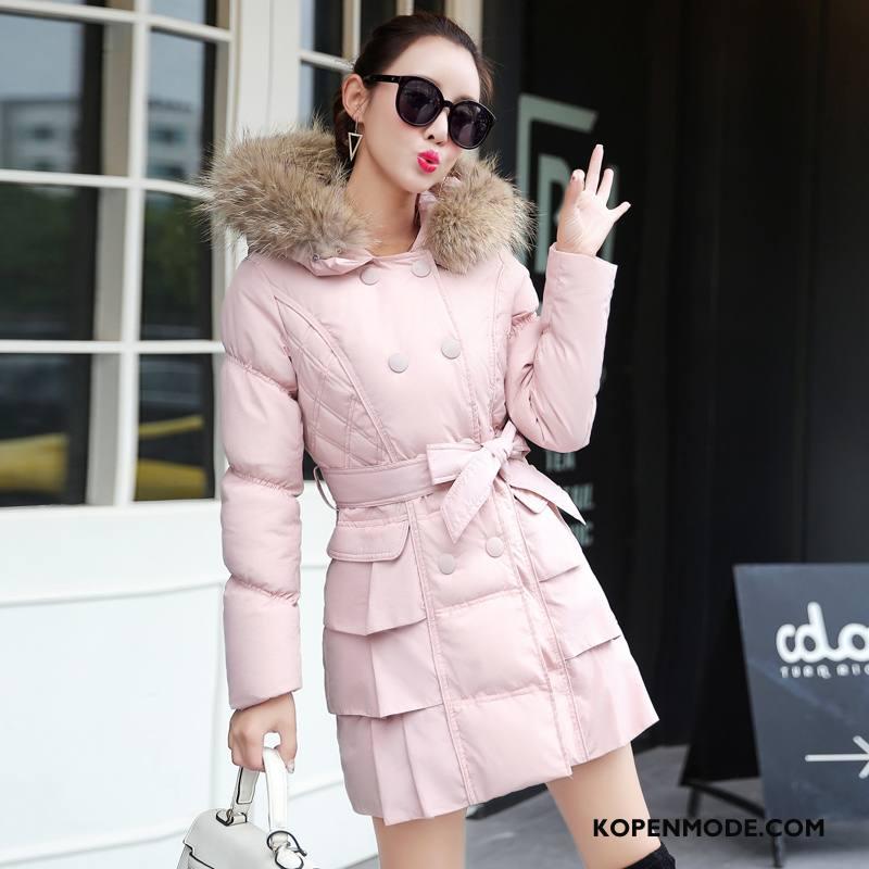 Katoenen Jas Dames Winter Lang Mooi Zoet Eenvoudige Elegante Roze Rood