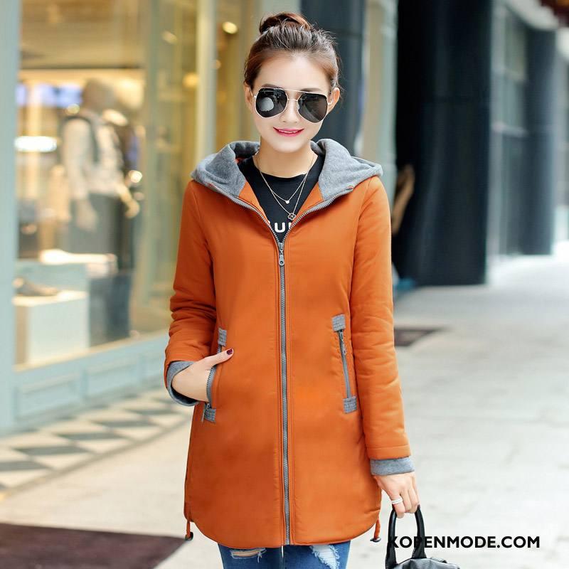 Katoenen Jas Dames Winter Slim Fit Rits 2018 Elegante Mode Effen Kleur Oranje