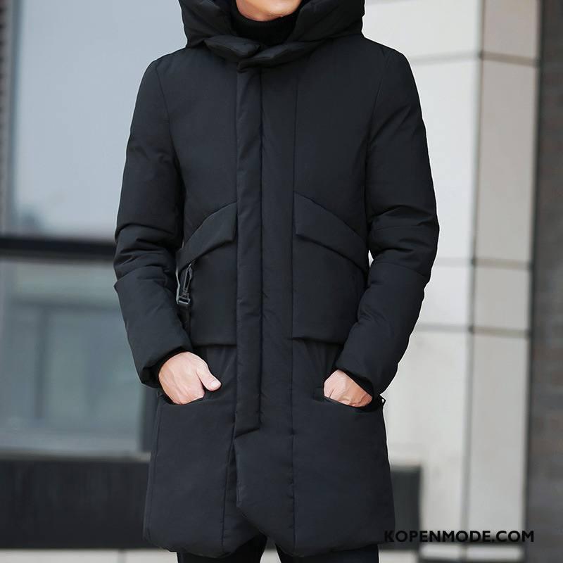 Katoenen Jas Heren Lang Bontkraag Dikke Winter Jeugd Mode Zwart