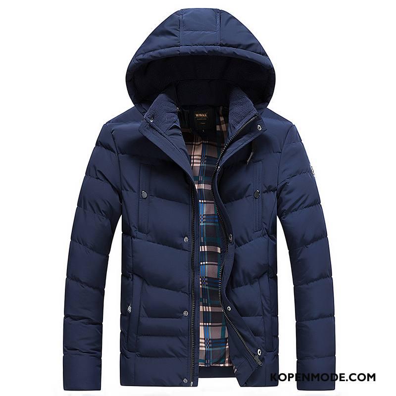 Katoenen Jas Heren Winter Casual Jeugd Nieuw Mode Mannen Donkerblauw