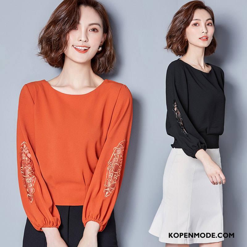 Kleding Grote Maten Dames 2018 Pullover Blouse Overhemd Dunne Vrouwen Slim Fit Effen Kleur Rood Oranje