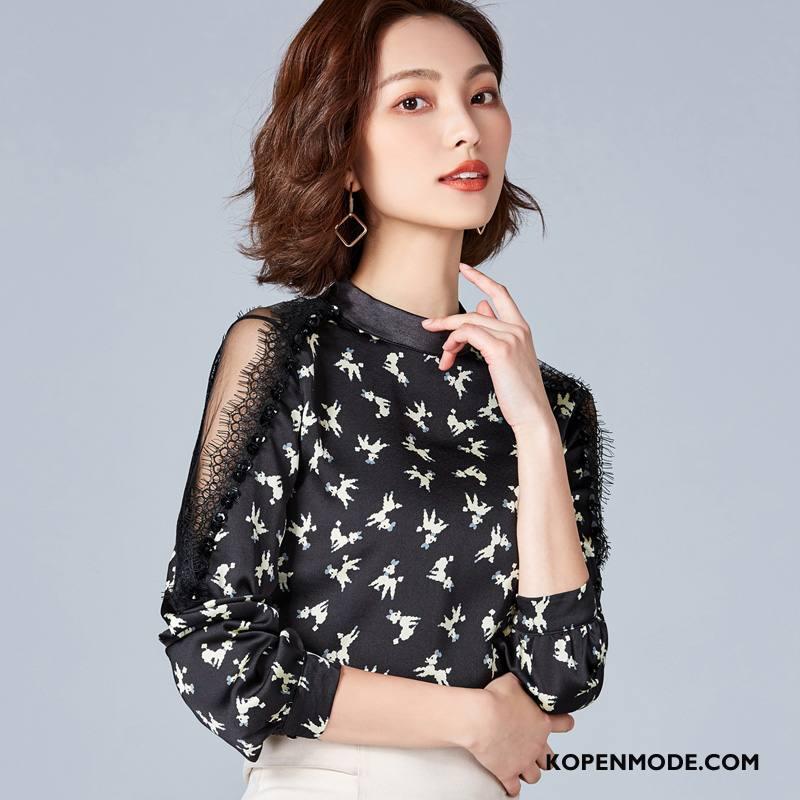Kleding Grote Maten Dames Bloemen Vrouwen Blouse Overhemd Voorjaar 2018 Verbinding Zwart