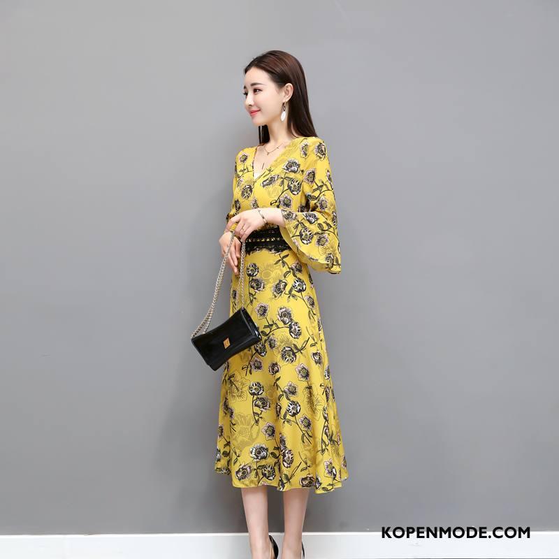 Kleding Grote Maten Dames Slim Fit Eenvoudige Lang Mode 2018 Voorjaar Geel