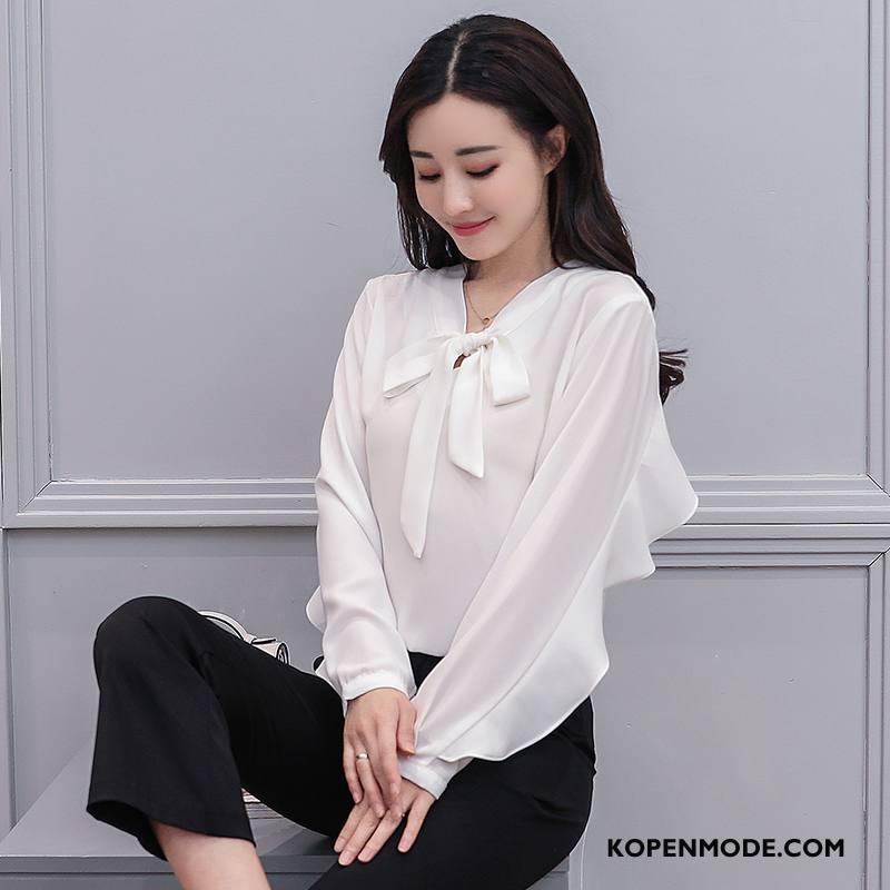 Kleding Grote Maten Dames Voorjaar Rechtdoor Pullover Blouse Overhemd Lange Mouwen 2018 Effen Kleur Wit