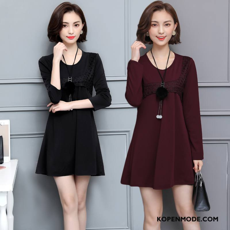 Kleding Middelbare Leeftijd Dames Elegante Kleermaker Lang Herfst Trend Pullover Rood