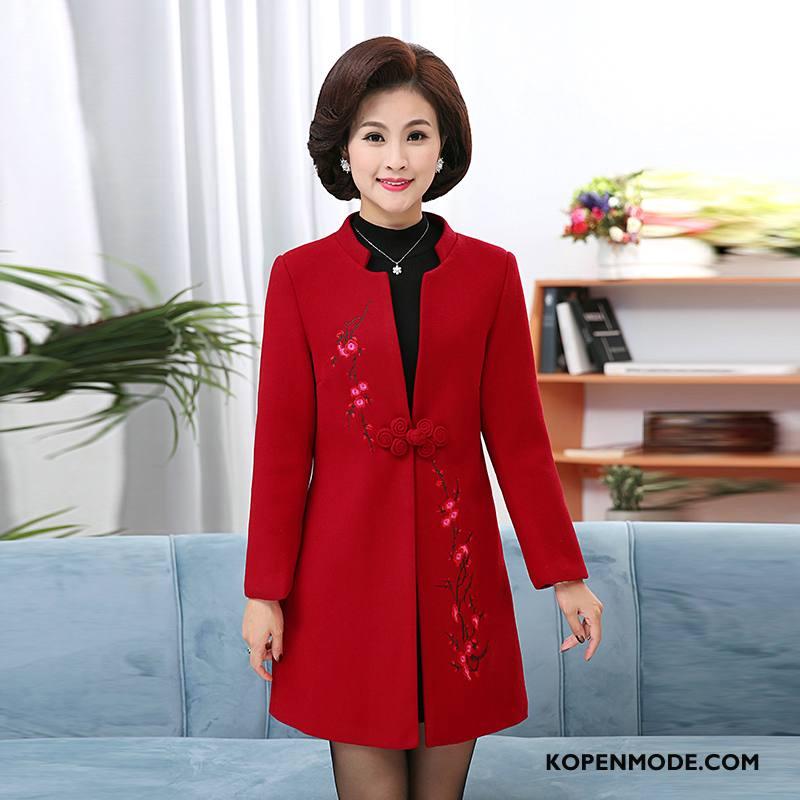Kleding Middelbare Leeftijd Dames Elegante Populair 2018 Comfortabele Dunne Eenvoudige Effen Kleur Rood