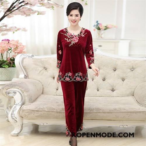 Kleding Middelbare Leeftijd Dames Pullover Casual Vrouwen Pak Twee Stukken Dikke Rood