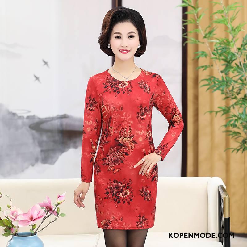 Kleding Middelbare Leeftijd Dames Slim Fit Vrouwen Lange Mouwen Elegante Eenvoudige Voorjaar Rood