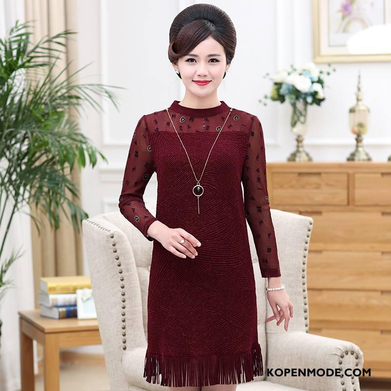 Kleding Middelbare Leeftijd Dames Vrouwen Mode 2018 Comfortabele Losse Pullover Rode Wijn Effen Kleur