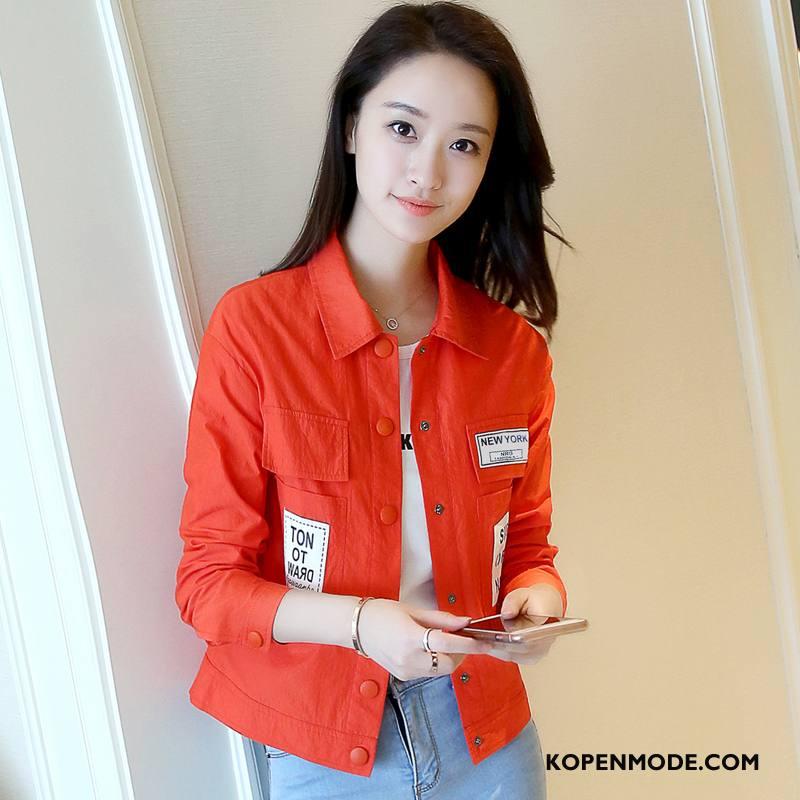 Korte Jas Dames Herfst Casual Comfortabele Elegante Revers Mode Effen Kleur Oranje
