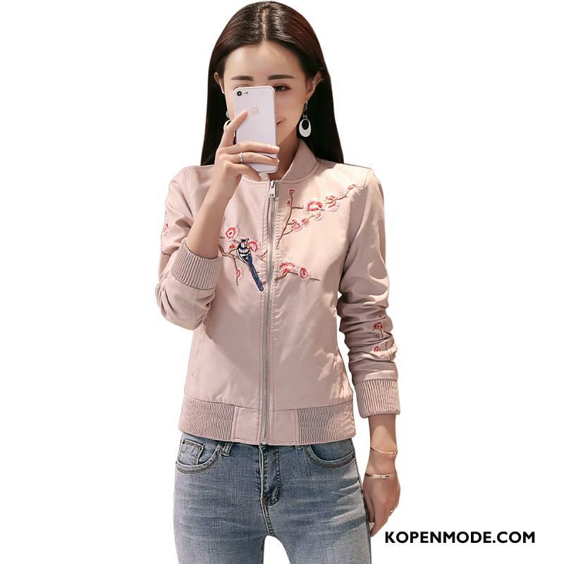 Korte Jas Dames Voorjaar Persoonlijk Stad Elegante Populair Comfortabele Roze
