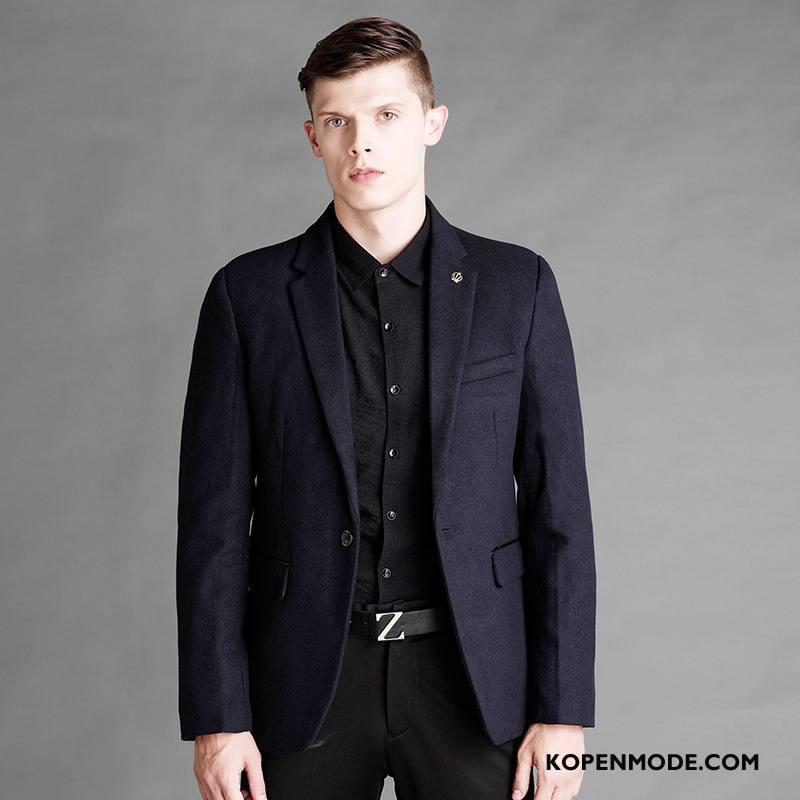 Kostuum Heren Herfst Mannen Blazer Pak Nieuw Mooi Donkerblauw