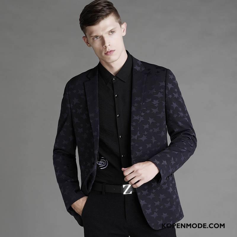 Kostuum Heren Jeugd Blazer Herfst Trend Slim Fit Casual Zwart