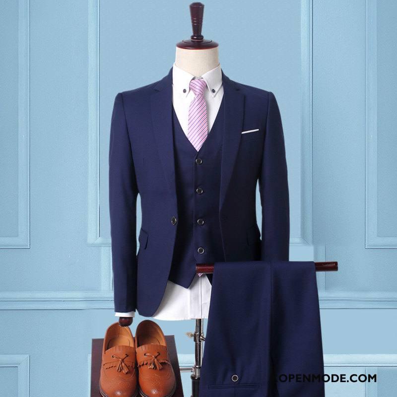 Kostuum Heren Mannen Pak Slim Fit Voorjaar Blazer Nieuw Donkerblauw