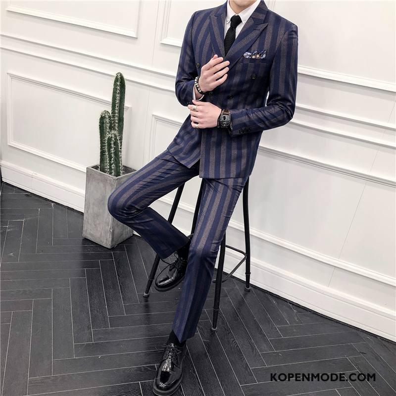 Kostuum Heren Mannen Slim Fit Blazer Pak Voorjaar Nieuw Donkerblauw