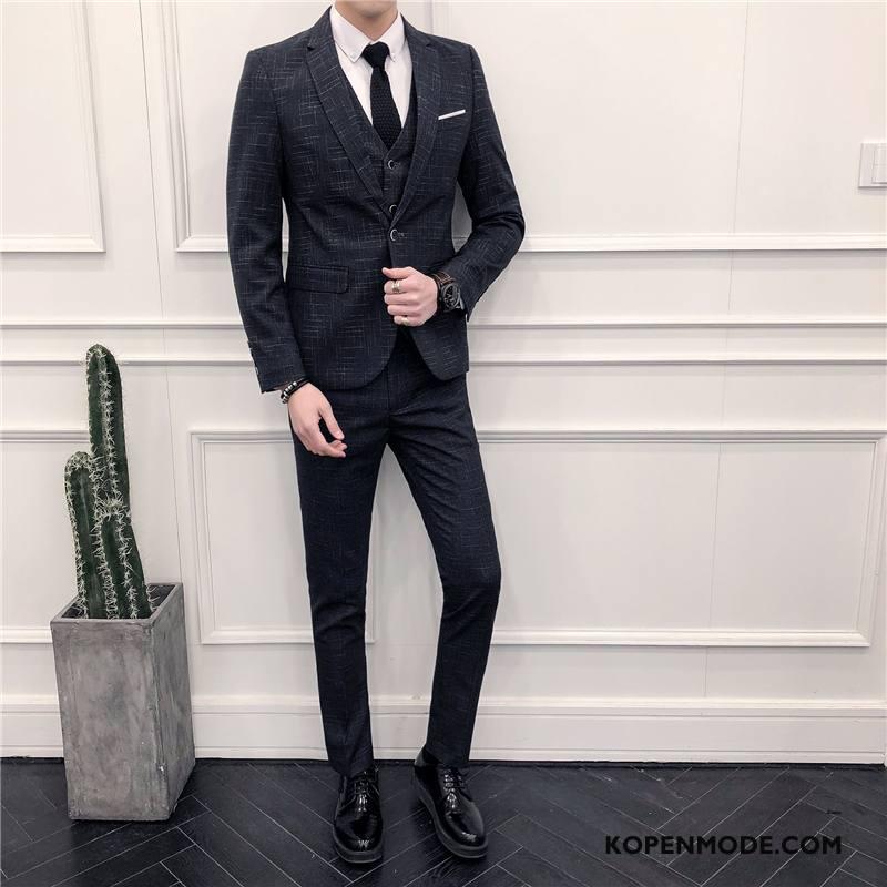 Kostuum Heren Pak Casual Nieuw Blazer Mannen Voorjaar Zwart