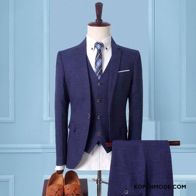Kostuum Heren Pak Herfst Slim Fit Sterrenbeeld Mannen Winter Blauw