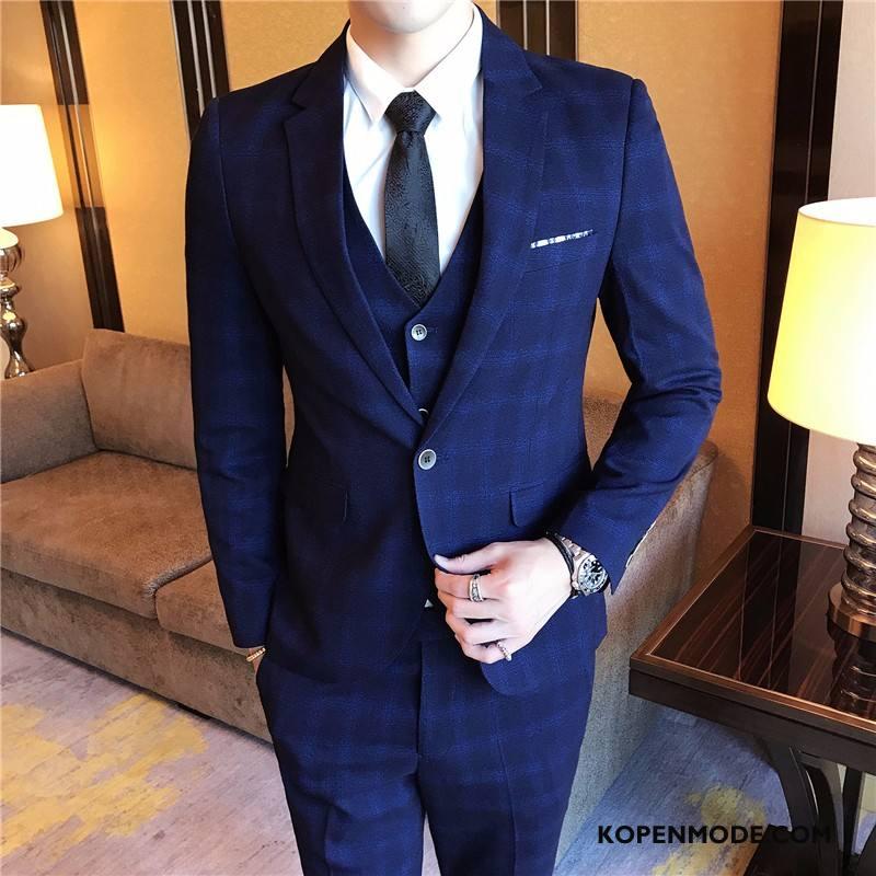 Kostuum Heren Slim Fit Sterrenbeeld Pak Herfst Casual 2018 Blauw
