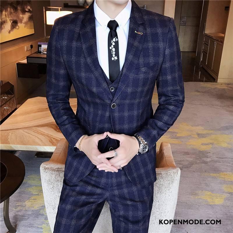 Kostuum Heren Sterrenbeeld Winter Pak 2018 Slim Fit Herfst Donkerblauw