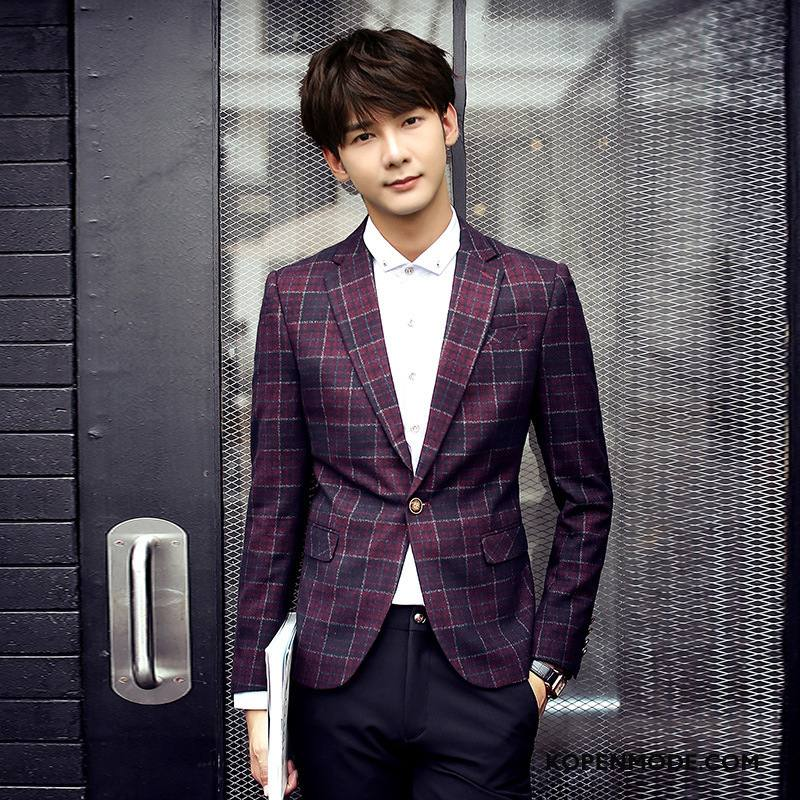 Kostuum Heren Trend Pak Jas Casual Geruite Slim Fit Rood