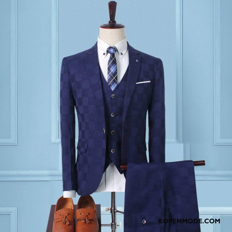 Kostuum Heren Voorjaar Blazer Nieuw Pak Mannen Slim Fit Donkerblauw