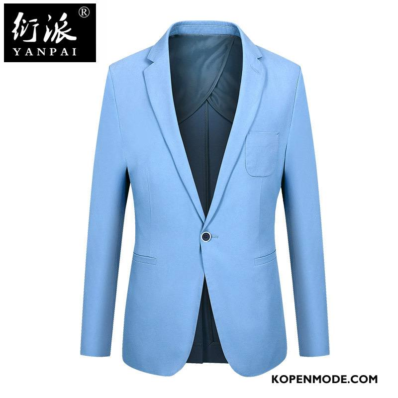 Kostuum Heren Voorjaar Herfst Mannen Slim Fit Pak Katoen Effen Kleur Blauw