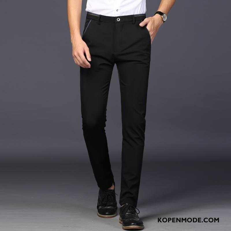 Kostuumbroek Heren Dunne Trend Mannen Nieuw Slim Fit Jeugd Zwart