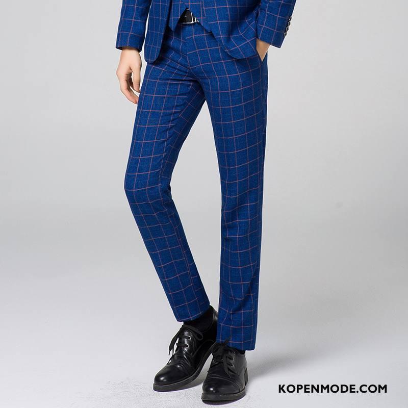Kostuumbroek Heren Geruit Pak Blauw