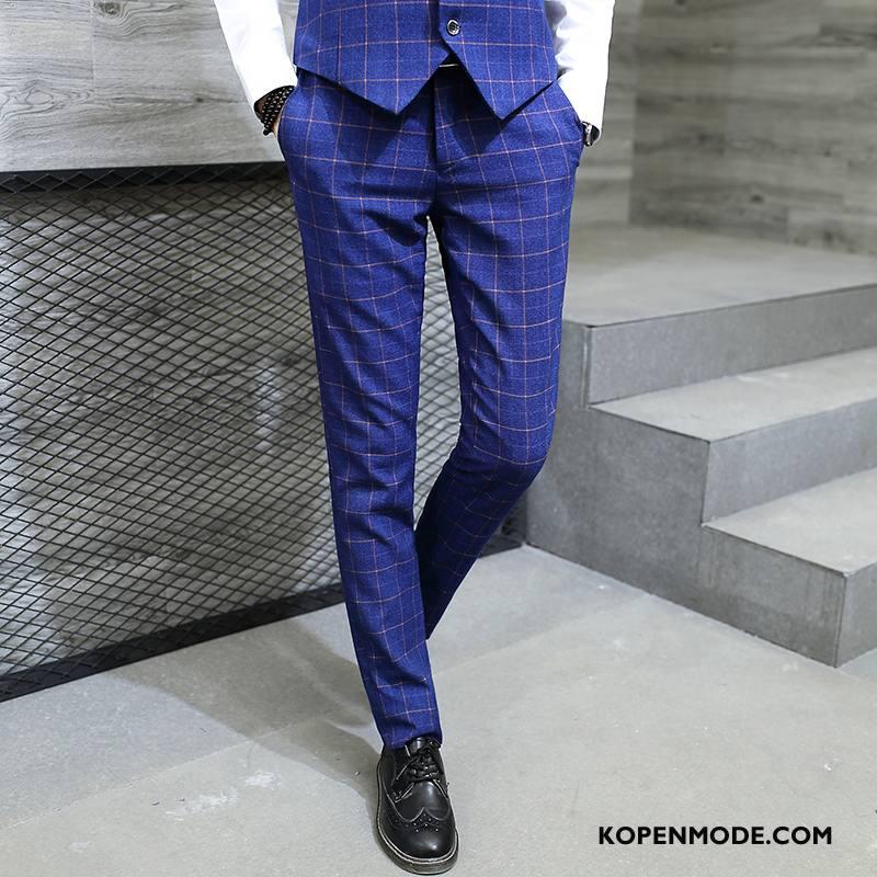 Kostuumbroek Heren Slim Fit Nieuw Werk Trend Voorjaar Bedrijf Blauw