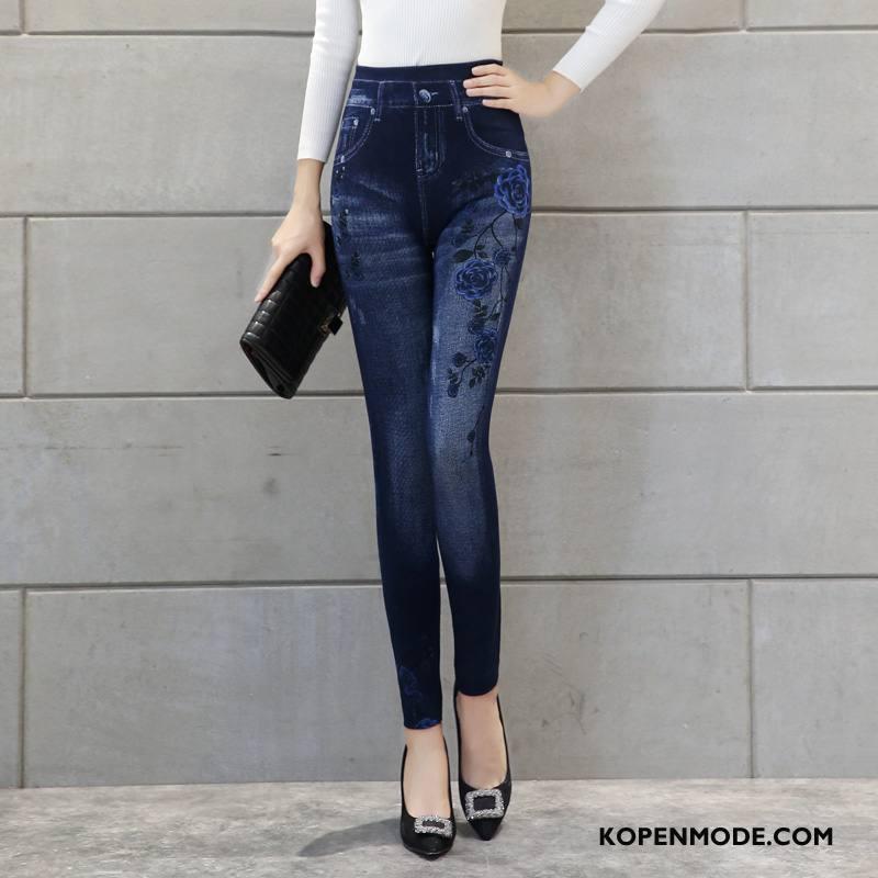 Legging Dames 2018 Eenvoudige Elegante Capri Broek Nieuw Mode Blauw