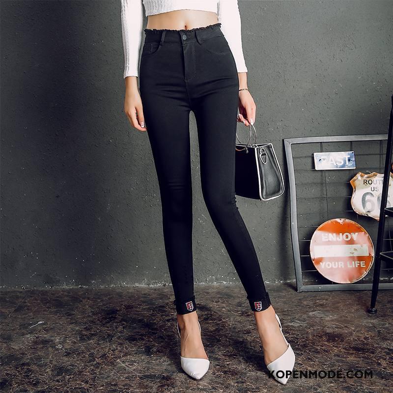 Legging Dames Broek Herfst Straat Trend 2018 Elegante Effen Kleur Zwart