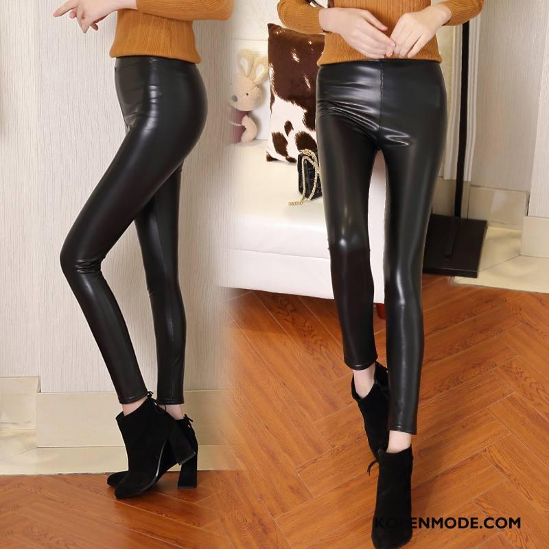 Legging Dames Dunne Trend Casual Elegante Winter Broek Effen Kleur Zwart