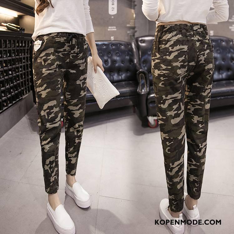 Legging Dames Elegante Leggings Herfst Broek Zak Verbinding Legergroene Camouflage