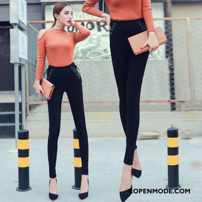 Legging Dames Herfst Dunne Comfortabele 2018 Verbinding Slim Fit Effen Kleur Zwart