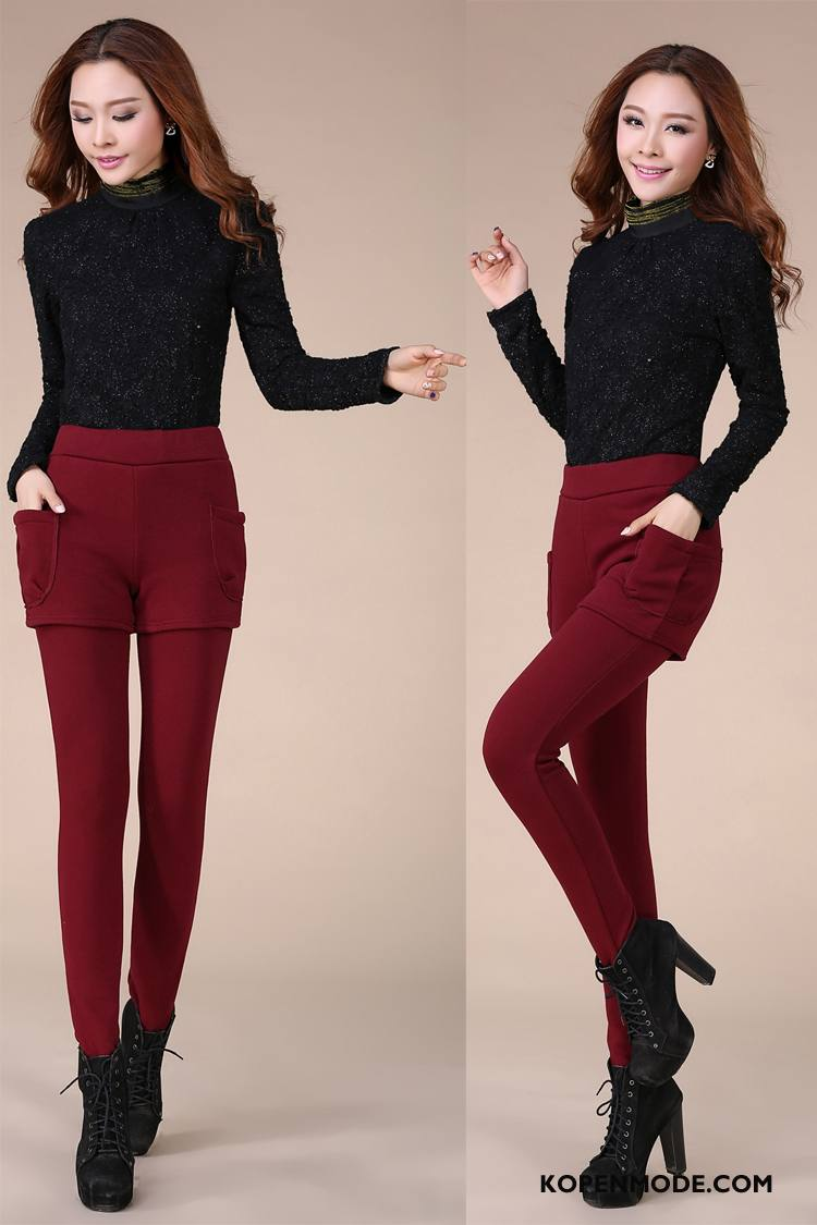 Legging Dames Leggings Slim Fit Winter Elegante Dunne Mode Rode Wijn Effen Kleur