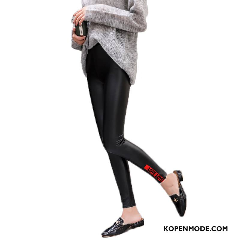 Legging Dames Slim Fit Broek Mode Herfst Bedrukken Leggings Zwart