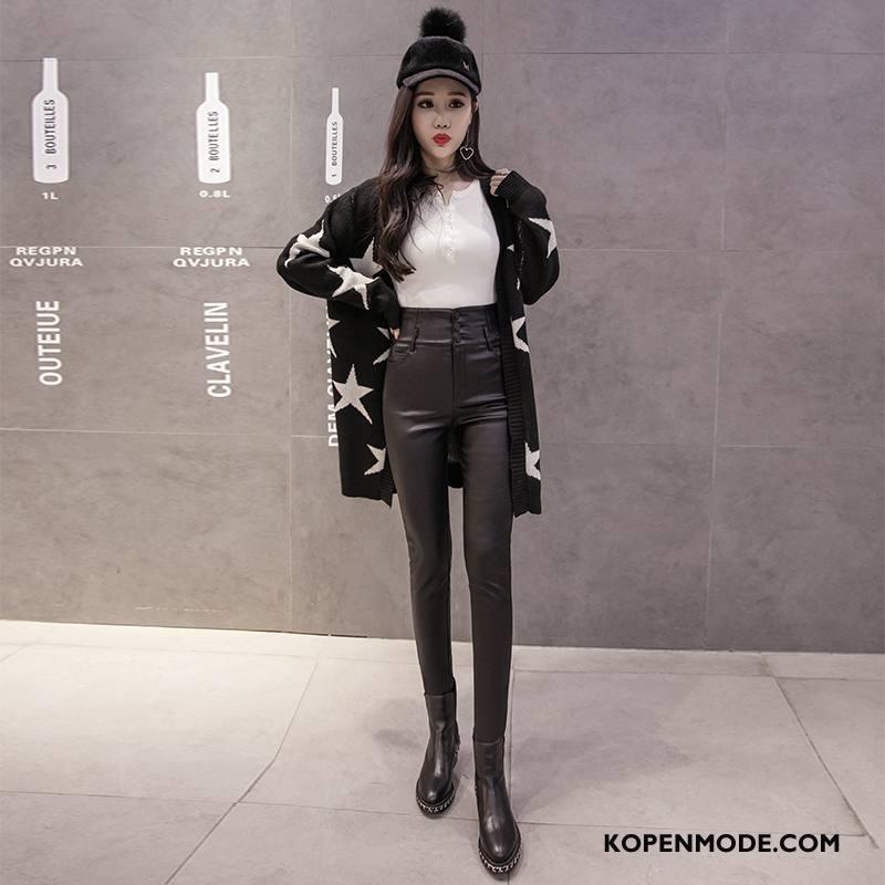Legging Dames Zoet Elegante Herfst Broek Slim Fit Mode Effen Kleur Zwart