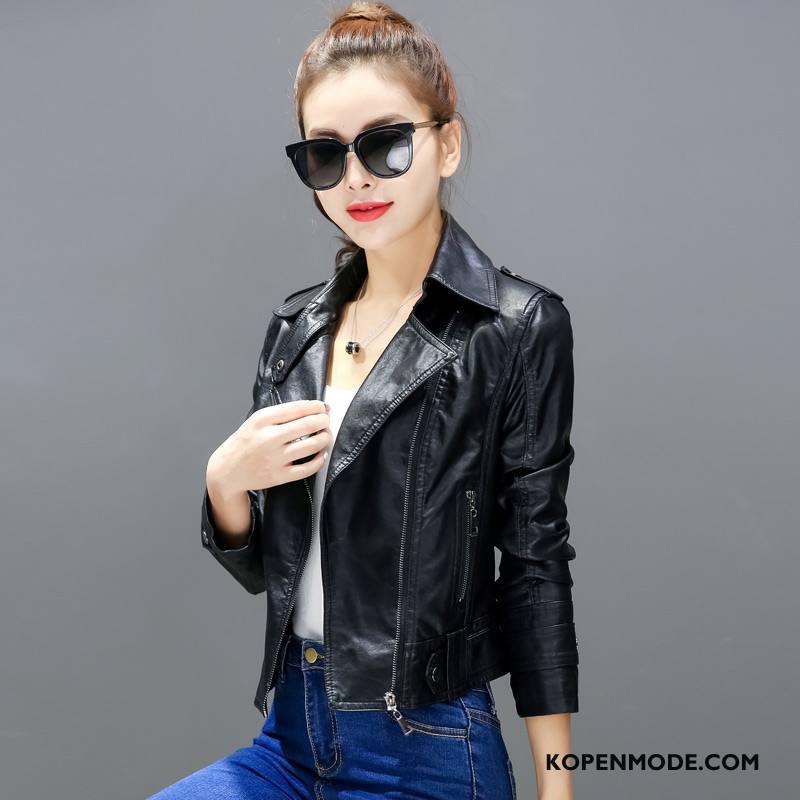 Leren Jassen Dames 2018 Slim Fit Mode Lange Mouwen Eenvoudige Herfst Zwart