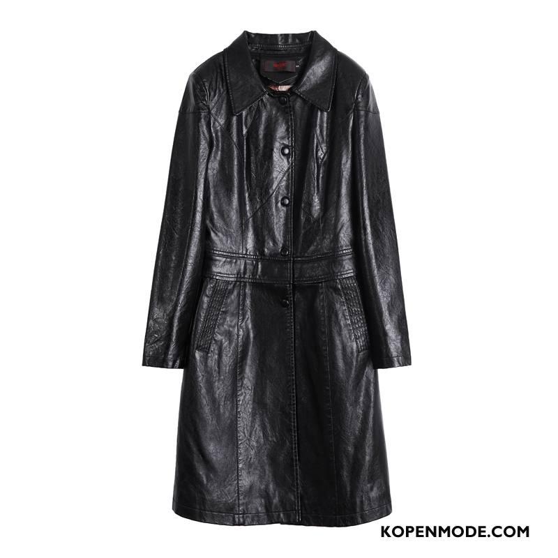 Leren Jassen Dames Lang Nieuw Trenchcoat Elegante Winter Vrouwen Zwart
