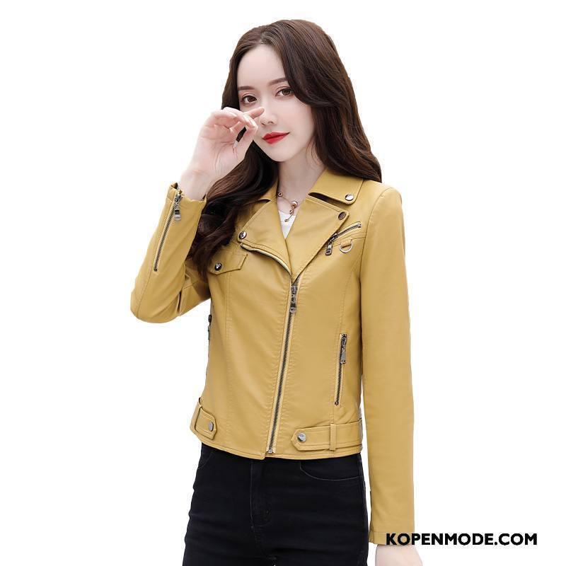 Leren Jassen Dames Mode Mooi Herfst Comfortabele Trend Strakke Geel