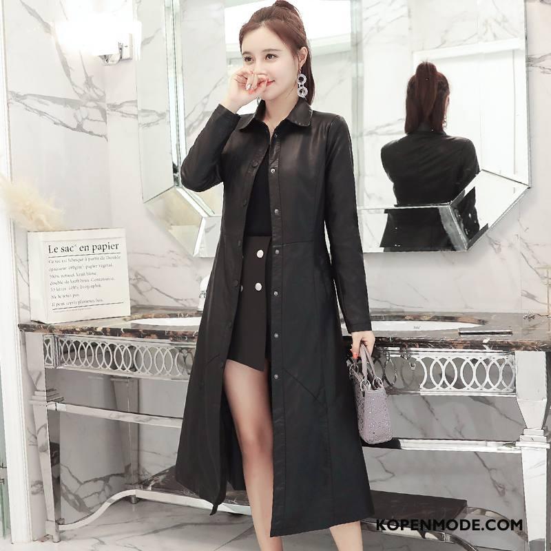 Leren Jassen Dames Mode Persoonlijk Jeugd Elegante Dunne 2018 Zwart