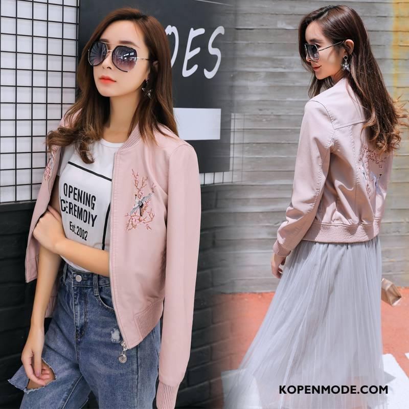 Leren Jassen Dames Mode Rechtdoor Voorjaar 2018 Trend Kort Effen Kleur Roze