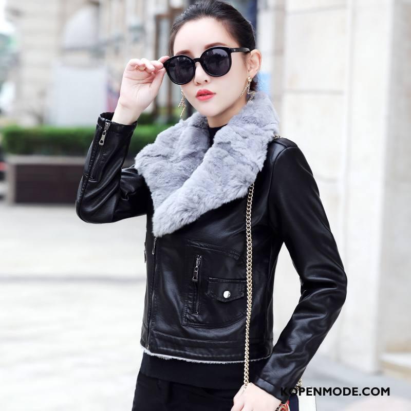 Leren Jassen Dames Nieuw Slim Fit Herfst Mode Kort Casual Zwart