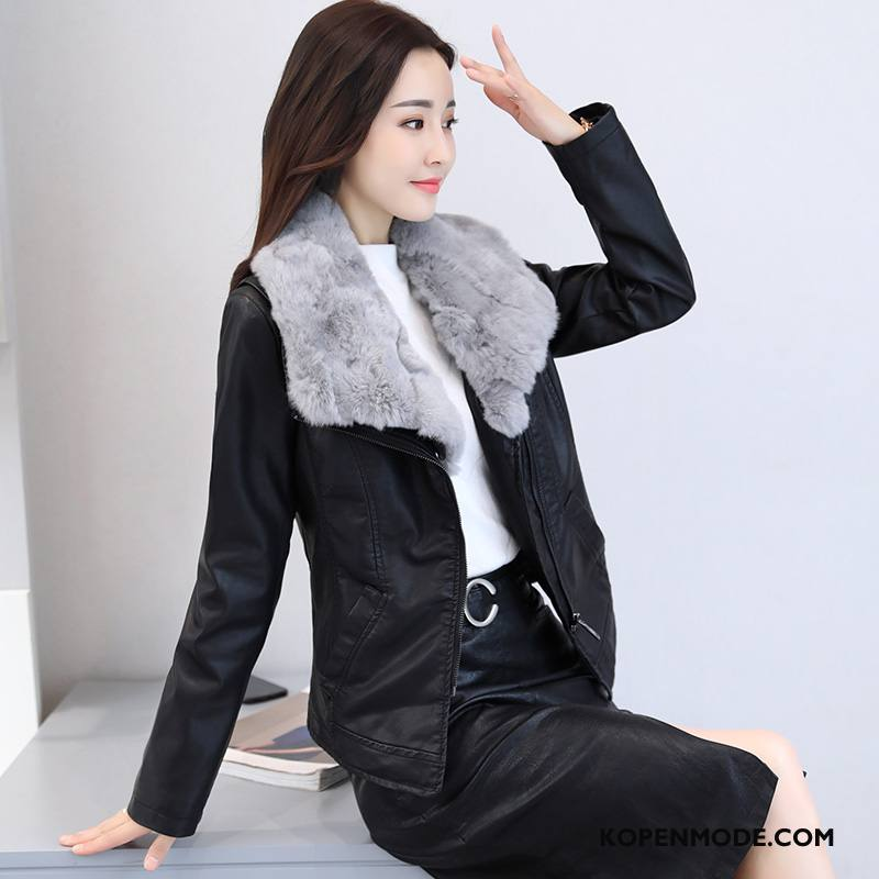 Leren Jassen Dames Slim Fit Kort Mode Wassen Winter Lange Mouwen Zwart